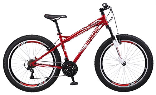 "Mongoose Bering 3"" Fat Tire Bicycle 26"" Wheel 18 inch/Medium Frame Size red"