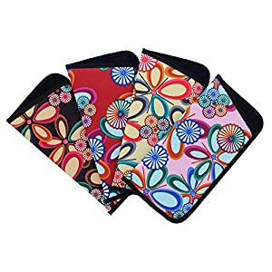 4 Pack Soft Slip In Eyeglass Case For Women, Fun Floral Design, Color Assortment