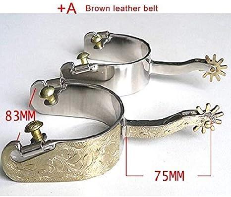 HAOT Espuelas para Montar Ecuestres a Caballo Botas ecuestres Perno Ajustable de Metal Precioso Espuelas para Montar a Prueba de Herrumbre, A