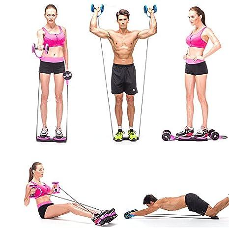 Rubility® Multifunción ejercicio máquina de ejercicio ligero portátil para mancuernas, barbell, tirar de la cuerda, cintura Twister, AB Roller, ...
