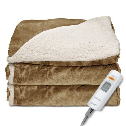 Sunbeam Reversible Sherpa/RoyalMink Heated Throw Blanket with EliteStyle II Controller, Honey, (Autumn Design)