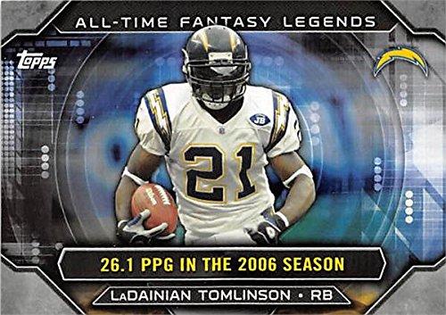 Ladainian Tomlinson Autographed Pro Football (Ladainian Tomlinson football card (San Diego Chargers All Pro) 2015 Topps #ATFLLT All Time Fantasy Legends)