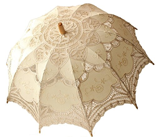 30 Handmade Lace Parasol Umbrella  Hand Fan For Wedding Bridal Decoration Victoria Style Photograph (Ivory)