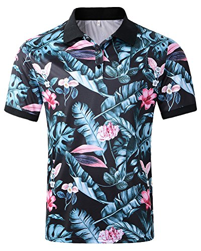 Hanmor Men's Casual Summer Cotton Regular Fit Short Sleeve Floral Printed Polo Shirts Tropical Printed (Hawaiian Floral Pattern Shirt)