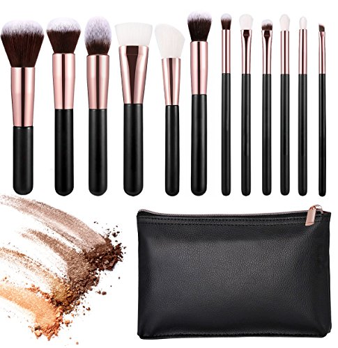 12pcs Makeup Brush Set+ Sponge (Pink+Rose Gold) - 4