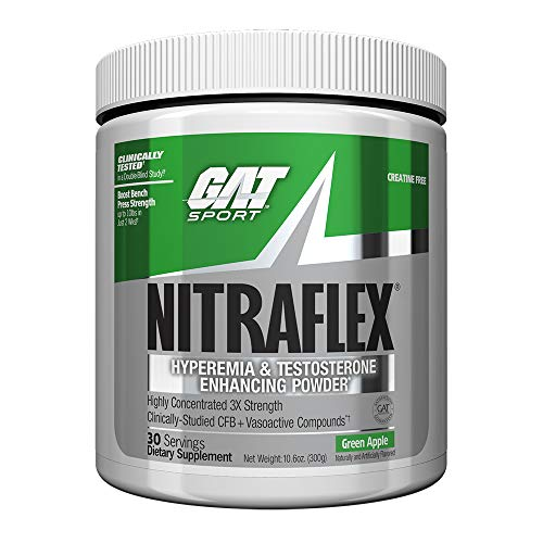 GAT – NITRAFLEX – Testosterone Enhancing Powder, Increases Blood Flow, Boosts Strength and Energy, Improves Exercise Performance, Creatine-Free Green Apple, 30 Servings