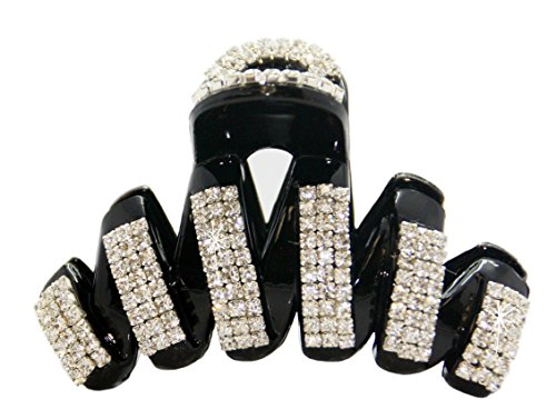 VANVENE Elegant Style Large Fancy Good Quality Rhinestones Claw Clip Jaw Clips For Thick Hair (black)