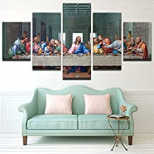 Premium Quality Canvas Printed Wall Art Poster 5 Pieces Wall Decor The Last Supper Painting Landscape Home Decor For Living Room Pictures - With Wooden Frame