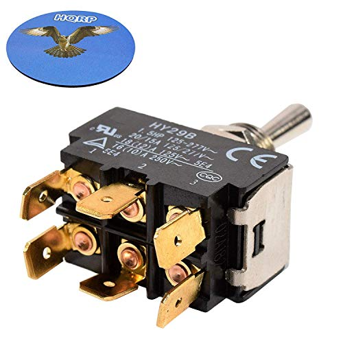 (HQRP Momentary Toggle Switch for HY29B Flagstaff Tent Trailer, 86 Ranger Bass Boat Rear Trim, Snow Blower, Boat Lift Up-Down Off Control 30-050 + HQRP Coaster)