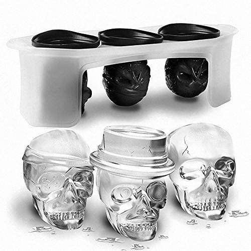 Pawaca 3D Skull Silicone Ice Cube Tray Mold, Set of 3 Different BPA Free Skull Ice Cube Maker, Cooling For Halloween Party Red Wine, Whiskey And Any Drink