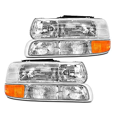 Epic Lighting OEM Style Replacement Headlight Signal Marker Light Combo Set for 1999-2006 Chevrolet Silverado Suburban Tahoe [ 4-Piece ] Driver and Passenger Sides: Automotive