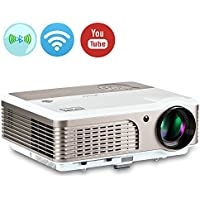 EUG Portable Wifi LCD Projector with Bluetooth Support 1080p 720p HD Home Theater Projector HDMI Wireless for iPhone iPad Smartphone 2600 Lumen
