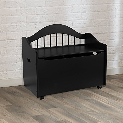 Beautiful and Portable Storage Chest Toy Box with Handles and Wheels for Easy Portability Sturdy Wood Construction Safety Hinge Prevents Lid from Dropping Multiple Colors Furniture Home Any Room by GAShop