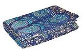 yuvancrafts Mandala Print Bedsheet's Kantha Quilt Indian Handmade Cotton Bedspread Bed Throw Bedding Cover.