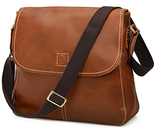 ALTOSY 15 Inch Genuine Leather Messenger Bag Satchel Bag for Office Work College School Business 8069 (light brown) by ALTOSY (Image #2)
