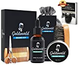 GoldWorld Beard Growth Kit for Dad/Men Gift Sets w/Unscented Beard Conditioner Oil+ Beard Balm Wax+Beard Comb+Beard Brush+Beard Scissors+Storage Bag for Grooming/Shaping (Beard Kit)