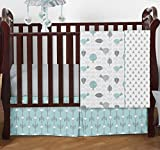 Turquoise Blue and Gray Earth and Sky Birds Nature Girl or Boy Baby Bedding 4 Piece Crib Set Without Bumper
