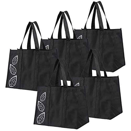 Bekith 5 Piece Large Collapsible Shopping Bags Set, Black Reusable Reinforced Grocery Tote Bag