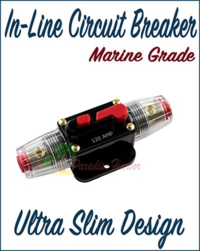 Paradise Harbor 12V Car Stereo Audio Circuit Breaker Inline Fuse 120A Fits 4-8 Gauge Wire ()