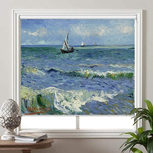 PASSENGER PIGEON Blackout Window Shades, Seascape at Saintes-Maries2, by Vincent Van Goah, Premium UV Protection Custom Roller Blinds, Custom Size Please Contact Customer Service for Price