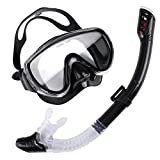 Dry Snorkel Set, Trofong Easybreath Snorkeling Gear Scuba Diving with Tempered Glass Diving Mask Anti-Fog Lens Comfortable Silicone Skirt