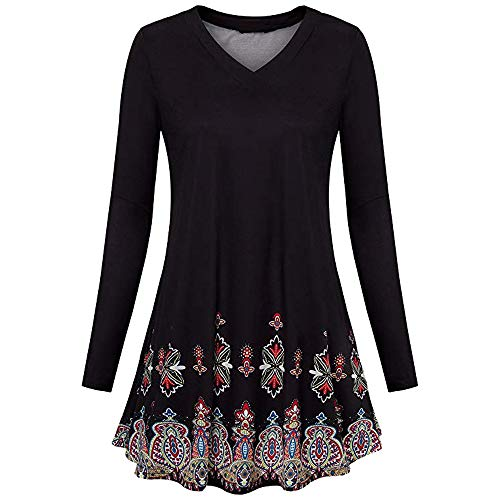 vermers Women Tunic Tops Womens Fashion Long Sleeve Floral Print Flowy Blouse Loose Casual T Shirt