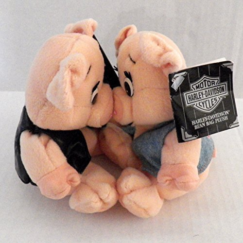 Cavanaugh Group Intl Vintage 1998 Harley Davidson Bean Bag Plush Baby Blue and Stud Kissing Piggies