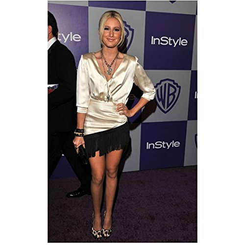 Ashley Tisdale 8 Inch x 10 Inch Photo The Suite Life of Zack and Cody High School Musical Donnie Darko White Satin Blouse & Black Skirt on Purple Carpet Pose 2 kn