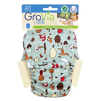 GroVia Organic Cotton All In One (AIO) One-Size Diaper - Woodlands