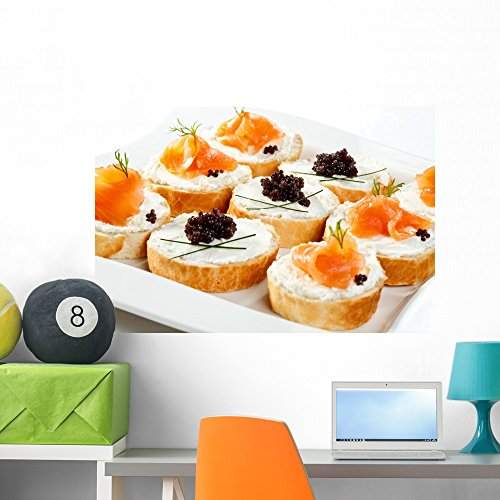 Wallmonkeys Mini Sandwiches Bagel with Cream Cheese Wall Decal Peel and Stick Graphic WM269352 (36 in W x 24 in H)