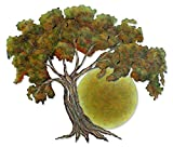 NOVICA Handmade Painted Steel Cutout Nature Tree Theme Wall Art, 'Sunset Oak'