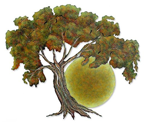 NOVICA Handmade Painted Steel Cutout Nature Tree Theme Wall Art, Sunset - Cut Out Inspired