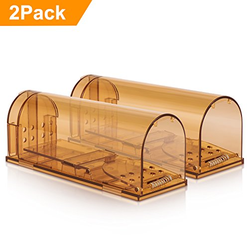 Adoric Life 2 Pack Humane Smart Mouse Trap, No Kill Mice Catcher - Live Catch and Release Rodents, Safe for Children & Pets, Humane Rat Poison - Brown