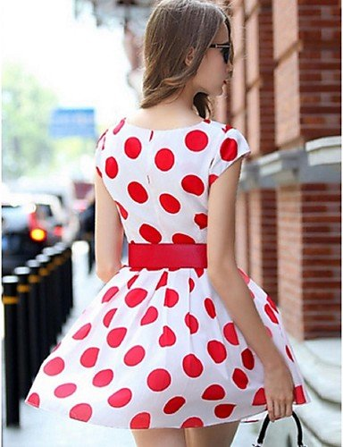 PU&PU Robe Aux femmes Gaine Street Chic,Imprimé Col Arrondi Au dessus du genou Polyester , red-l , red-l