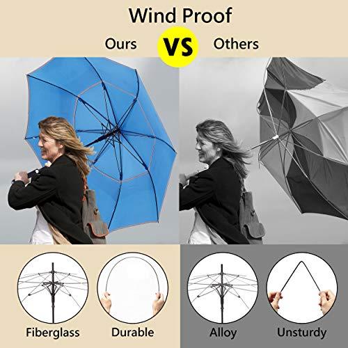 HOSA Auto Open Large Golf Umbrella Night Safety Reflective Strip | Windproof Waterproof UV Protection Anti-Slip Handle | for Raining Days Sunny Days Night Time Use (Dark Green 54-inch)