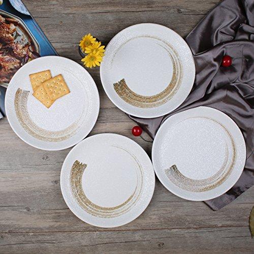 Stoneware Rustic Snowflake 9-Inch Bread/Salad/Dessert Plates, Set of 4, White (Rustic Stoneware)