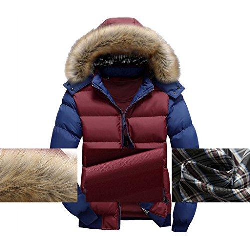Blu Pelliccia Moda Giacche Caldo Ragazzi Uomo Cappuccio Inverno Parka Hibote Sciare Outwear Rosso Cappotti Capispalla Spessore ZU0wHn