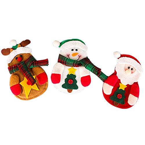 Serving Santa - 3C-LIFE 3PCS Christmas Snowman/Santa Claus/deer Tableware Holder Silverware Holder Pockets Set Knife and Fork Bags, Christmas gift
