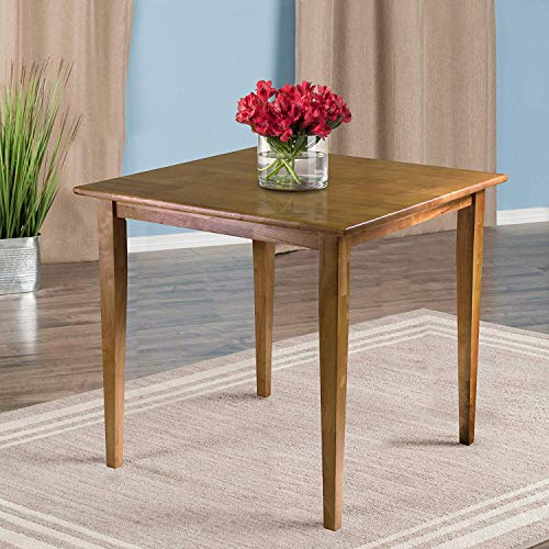 ACCENTHOME Oak Square Dining Table Wooden Country Farmhouse Sturdy Solid Wood Rustic 4 Seat Small Space Kitchen
