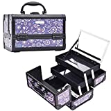 Aluminum Cosmetic Makeup Train Case - Organizer Box with Mirror Light Weight for Travel or Home Locking Portable Purple Floral