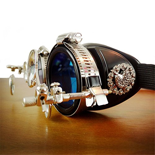 GEANBAYE Halloween Real Metal Steampunk Rock Victorian Goggles Welding Glasses With Four Colors Lens