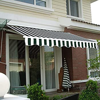 Image of 8.2'×6.5' , Stripe Green&White color , Manual Patio Retractable Deck Awning Sunshade Shelter Canopy Outdoor Home and Kitchen