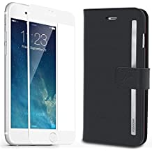 iPhone 6s Plus Case, rooCASE [Prestige Folio] iPhone 6s Plus Wallet Case Folio Flip Cover Card Holder with Full Screen Cover Tempered Glass (White Edge) for Apple iPhone 6s Plus/6 Plus (2015), Black