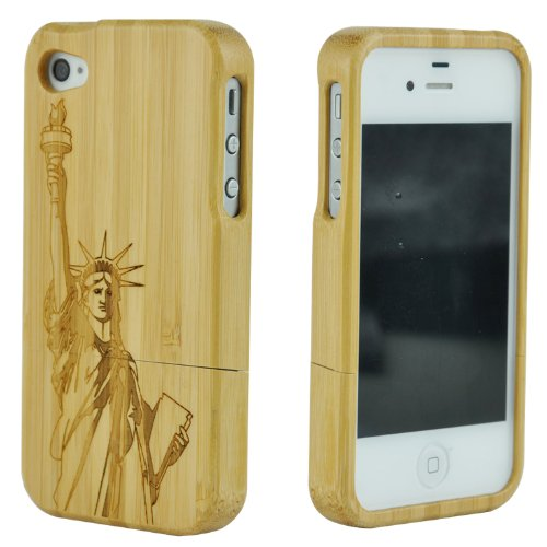 SunSmart Unique Handmade Natural Bamboo Hard Wooden Case Cover for iPhone 4 4S (Statue of Liberty)