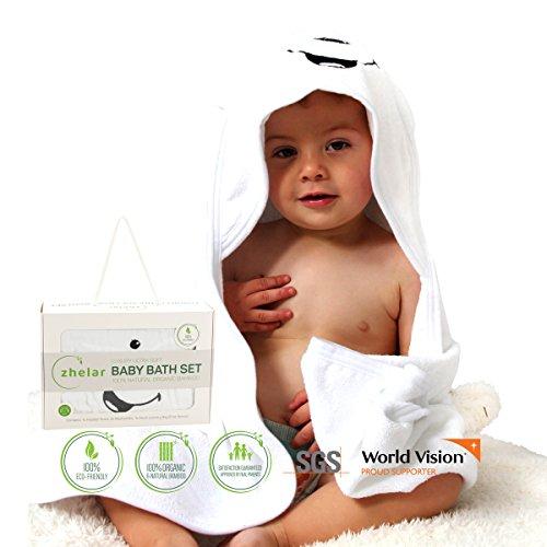 Luxury Bamboo Baby Bath Set | Hooded Towel with Ears & 2 Washcloths | Organic, Ultra Soft, Extra Large | Perfect Shower Gift for Newborn, Infant, Toddler | Bonus Laundry Bag | ZHELAR