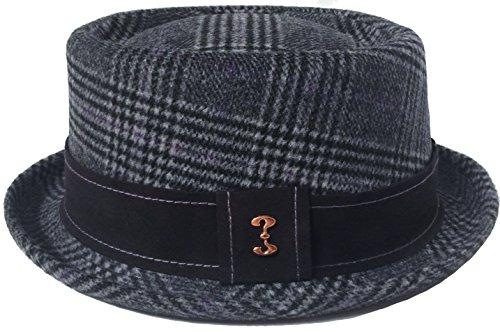 Who Ced Plaid Wool Blend Pork Pie Hat (Grey & Purple / (Plaid Pork Pie Hat)