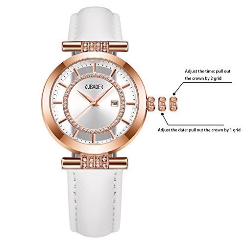 Womens Quartz Watch OUBAOER Crystal Accented Leather Band Watch for Women Transparent Watch with Date Lady Wristwatches for Business(Rose White) by OUBAOER (Image #2)