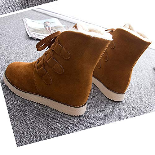 Boots Femme Noël Chaudes Bootie Lacets D'hiver Bottes Neige Snow À De Femmes Dames Femme Short Mode Binggong Marron Haut Talon Chaussures wqIT6F