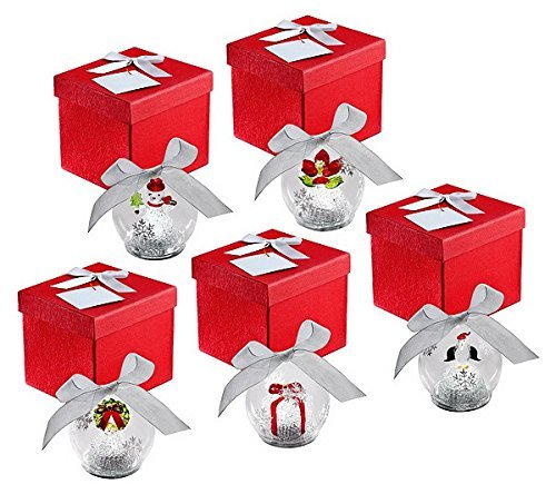 - QVC Kringle Express Set of 5 Illuminated Glass Ornaments Christmas Icons Gift Boxes and Batteries Included
