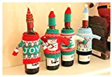 Vivian Christmas Bottle Cover Bag Knitted Wine Sweaters Cover Dress with Hat Set of 4 PCS
